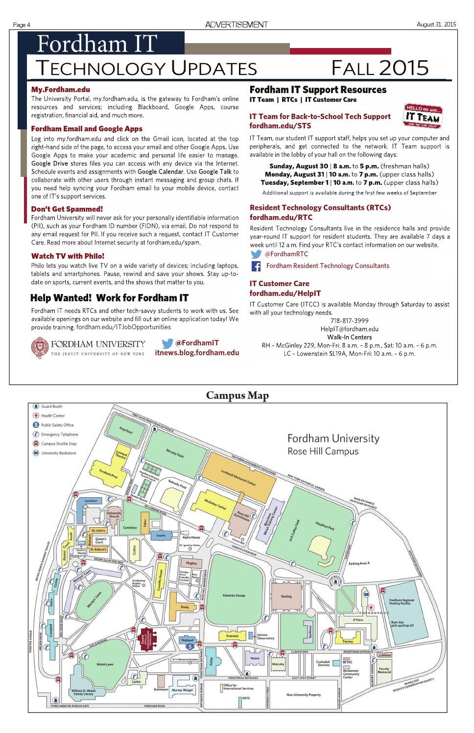 Campus Map Fordham.Volume 97 Orientation Issue By The Fordham Ram Issuu