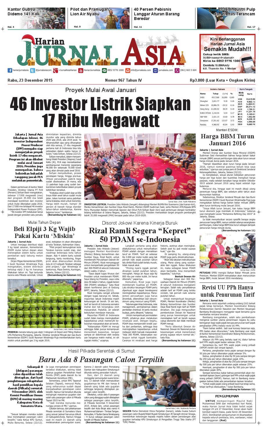 Harian Jurnal Asia Edisi Rabu 23 Desember 2015 By Harian Jurnal