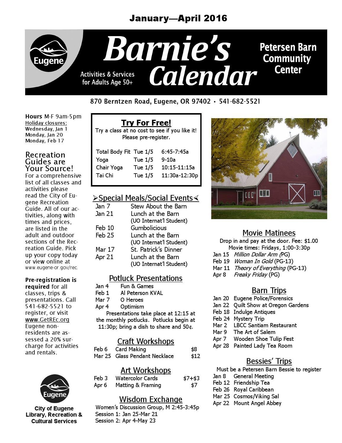 Barnies Calendar Winter/Spring 2016 by City of Eugene - issuu
