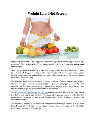 4 week weight loss plan
