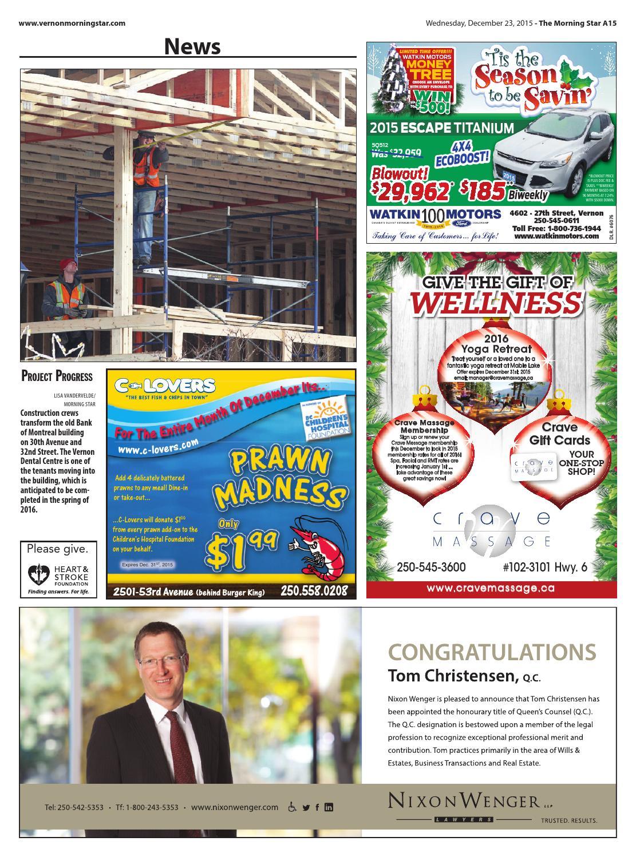 Vernon morning star december 23 2015 by black press issuu for Morning star motor co