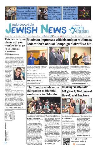 Jacksonville Jewish News January 2016 By Jewish Jacksonville News