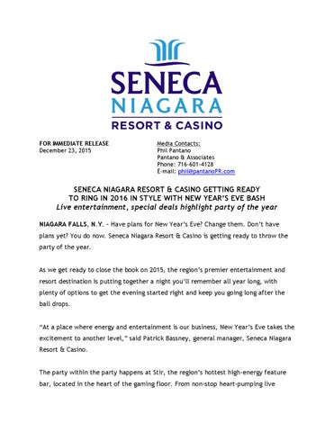 Seneca Niagara Resort Casino Getting Ready To Ring In 2016 In Style With New Year S Eve Bash By Seneca Resorts Casinos Issuu