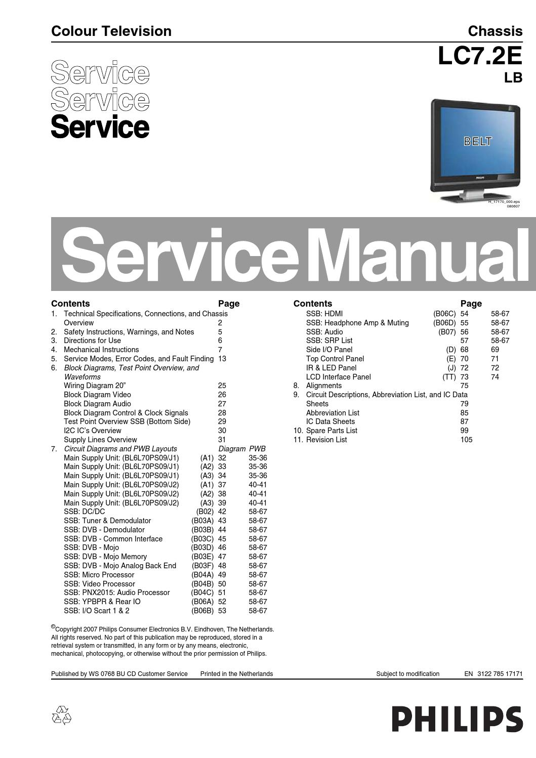 Manual De Servio Televisor Philips 19pfl5522d 12 Chassis Lc72e Lb Wiring Diagram Composite Video Cable To 15hd And S By Portal Da Eletrnica Issuu