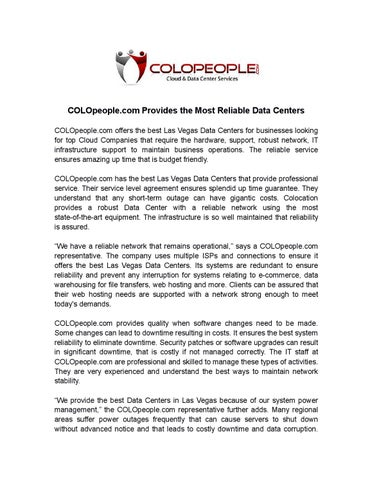 Colopeople Com Provides The Most Reliable Data Centers By Colopeople