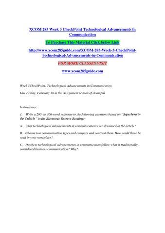 Xcom 285 week 7 checkpoint presentation powerpoint