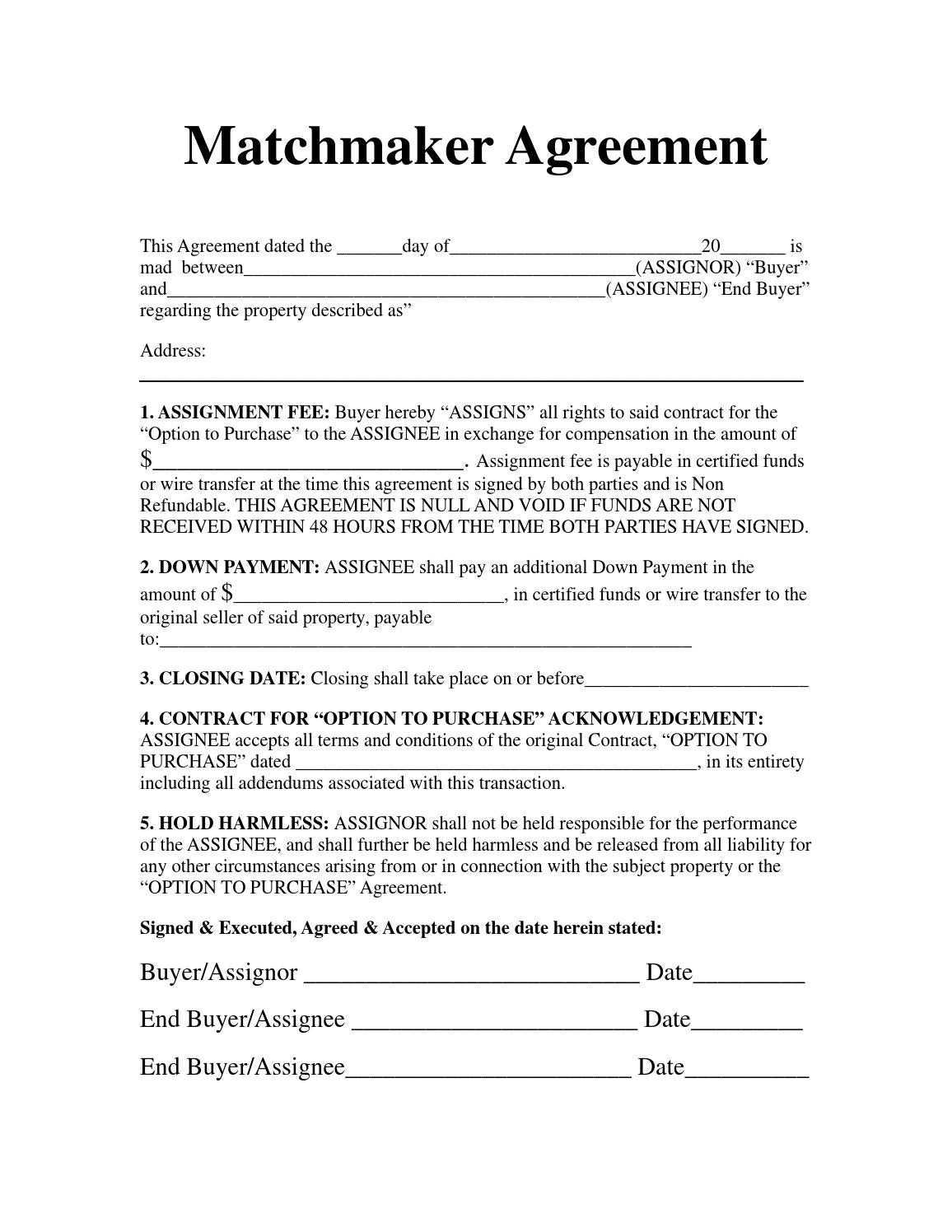 Matchmaker Agreement By Massive Ventures Llc Issuu