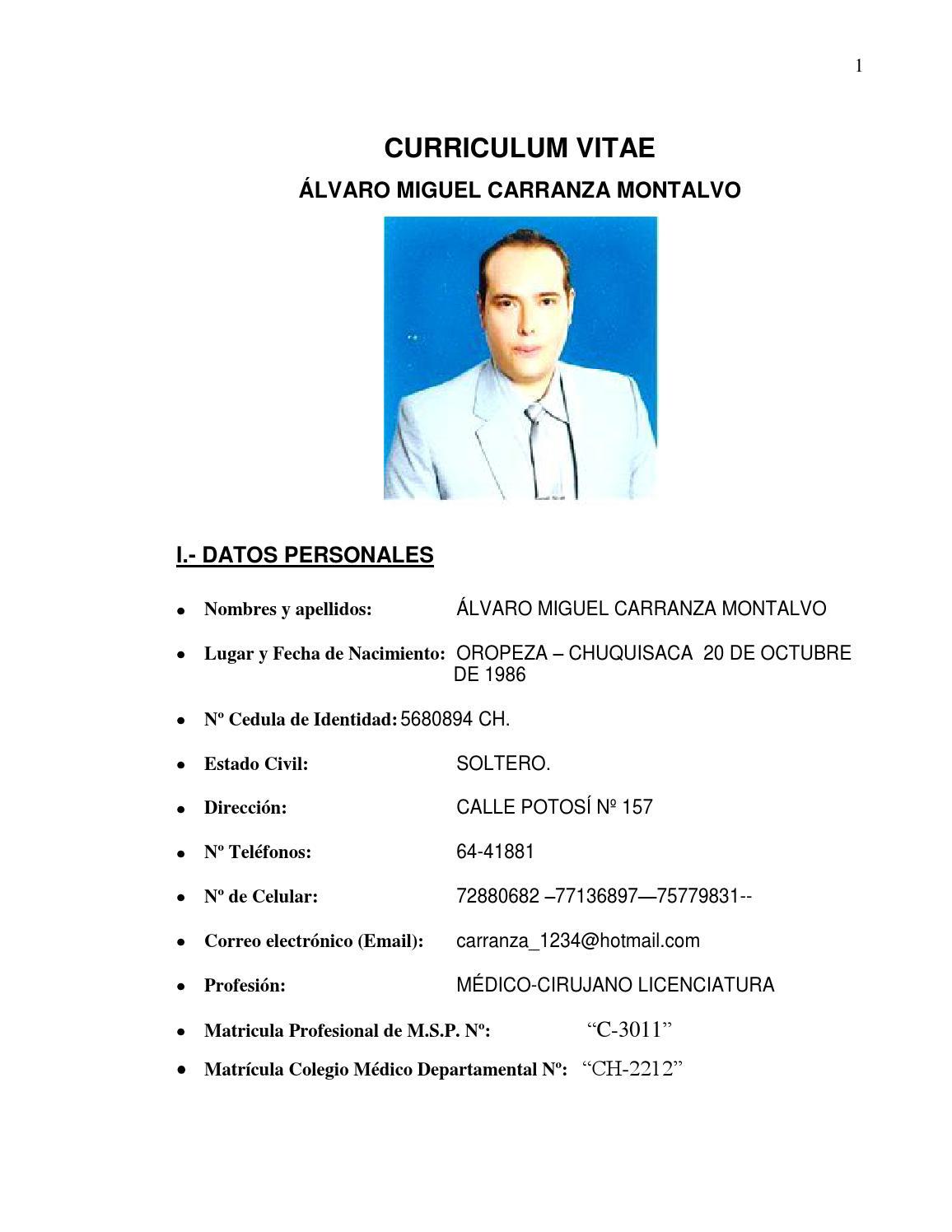 curriculum vitae hoja de vida by alvaro carranza montalvo