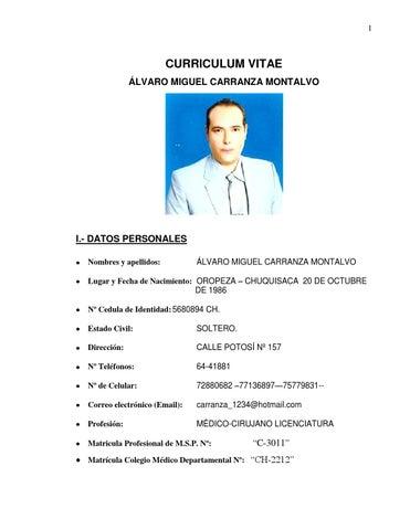 Curriculum Vitae Hoja De Vida By Alvaro Carranza Montalvo Issuu