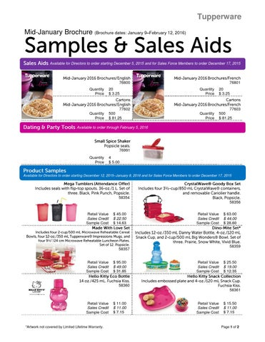 Tupperware Mid January Brochure (Brochure Dates: January  9âu0026#x20AC;u0026#x201C;February 12, 2016)