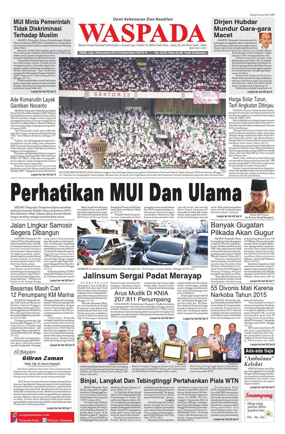 Waspada Senin 28 Desember 2015 By Harian Issuu Rkb Tegal Madu Mongso