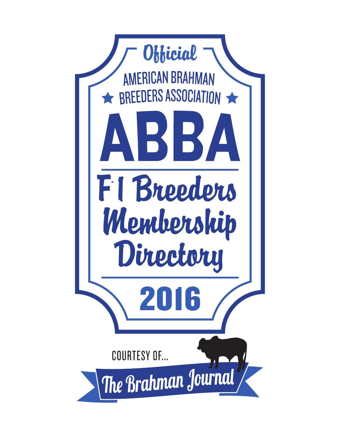 2016 ABBA F-1 Directory by Caballo Rojo Publishing - The