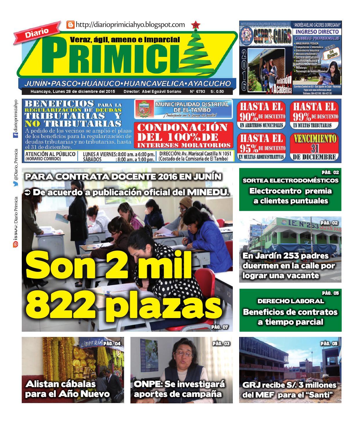 Diario primicia huancayo 28 12 15 by diario primicia issuu for Vacantes jardin 2016