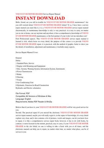 Volvo g710b motor grader service repair manual by