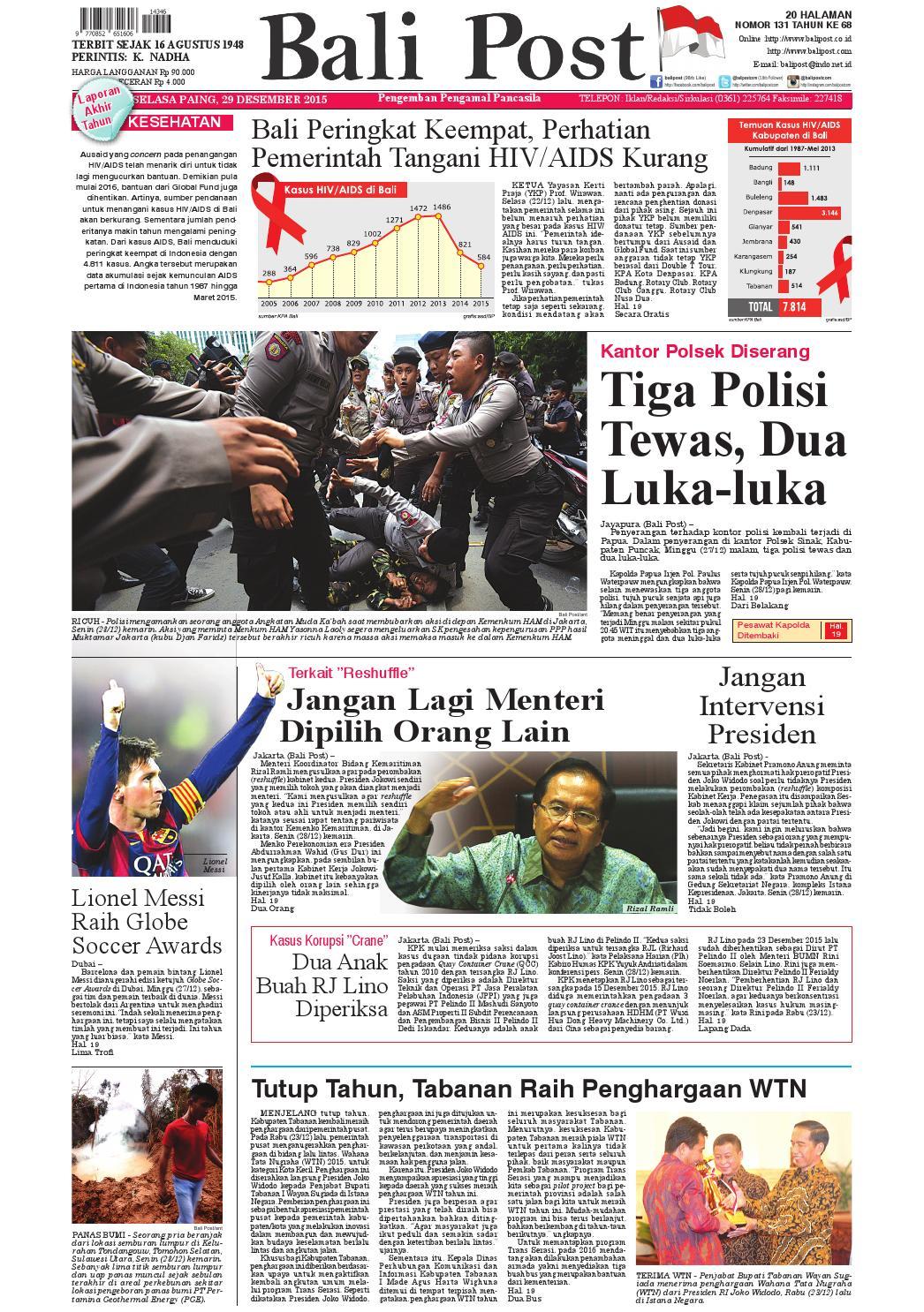 Edisi 29 Desember 2015 Balipostcom By E Paper Kmb Issuu Penutup Toilet Duduk Otomatis Izen Ib 450