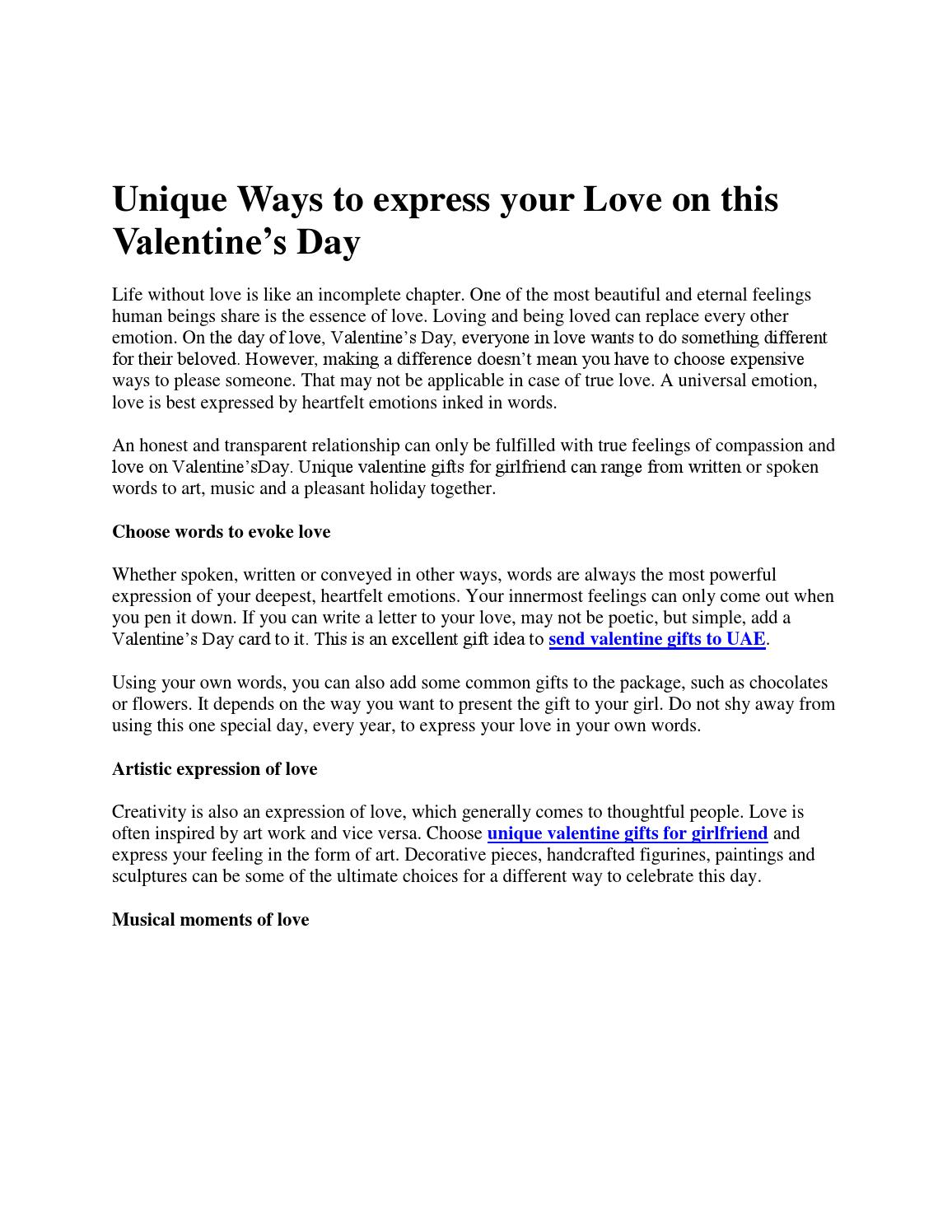 Ways to express your love in words