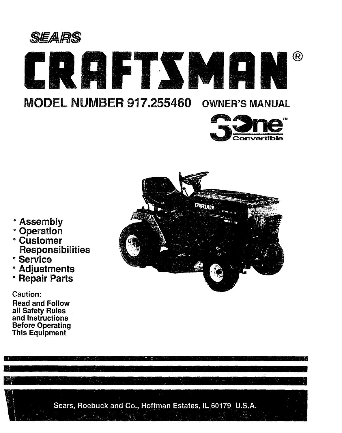 Sears Craftsman Lawn Mower Model 917 255460 By Glsense