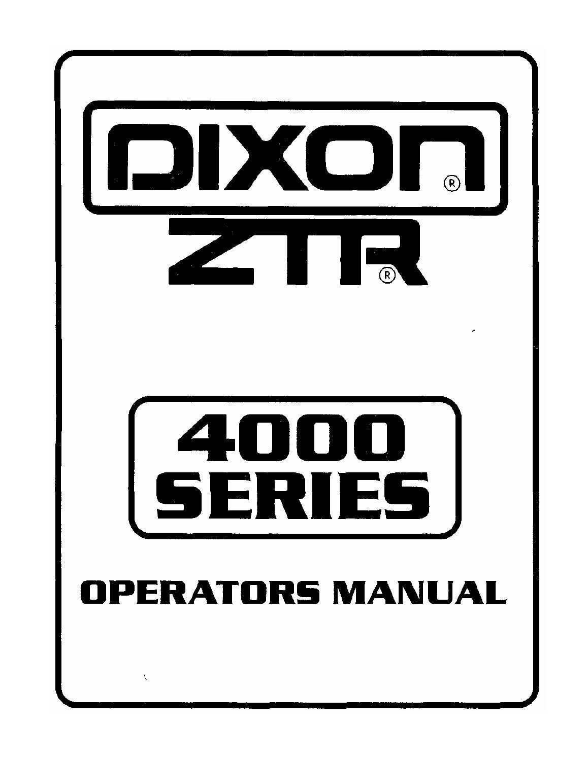 Dixon ZTR 4000 SERIES operators manual by glsense issuu – Dixon Ztr 2301 Ignition Wiring Diagram
