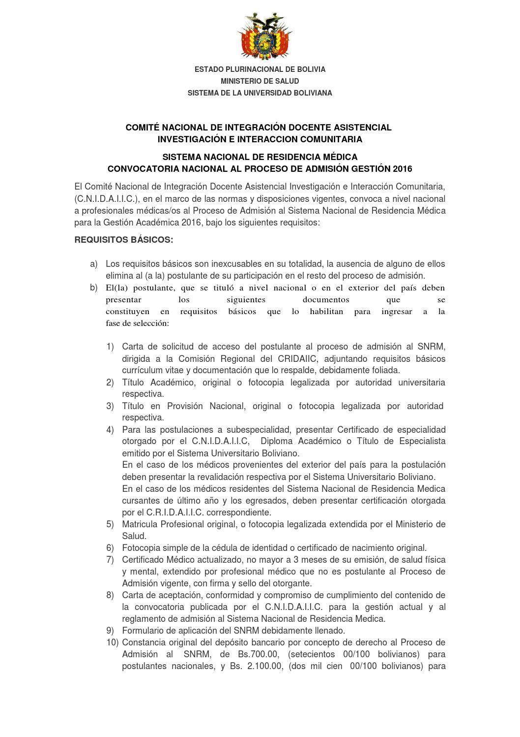Convocatoria residencia medica 2016 final by reynaldo for Convocatoria docentes exterior