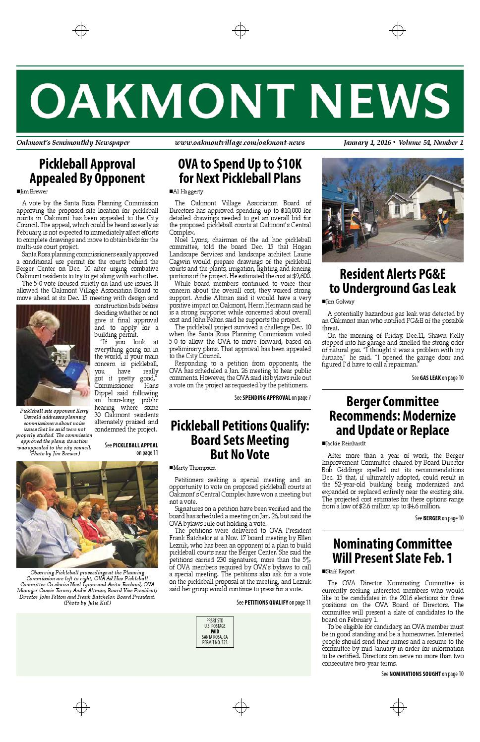 January 1 Edition Of The Oakmont News By Oakmont Village