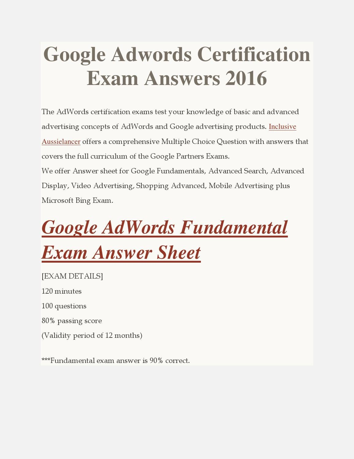 Google adwords certification exam answers 2016 by inclusive google adwords certification exam answers 2016 by inclusive aussielancer issuu xflitez Image collections