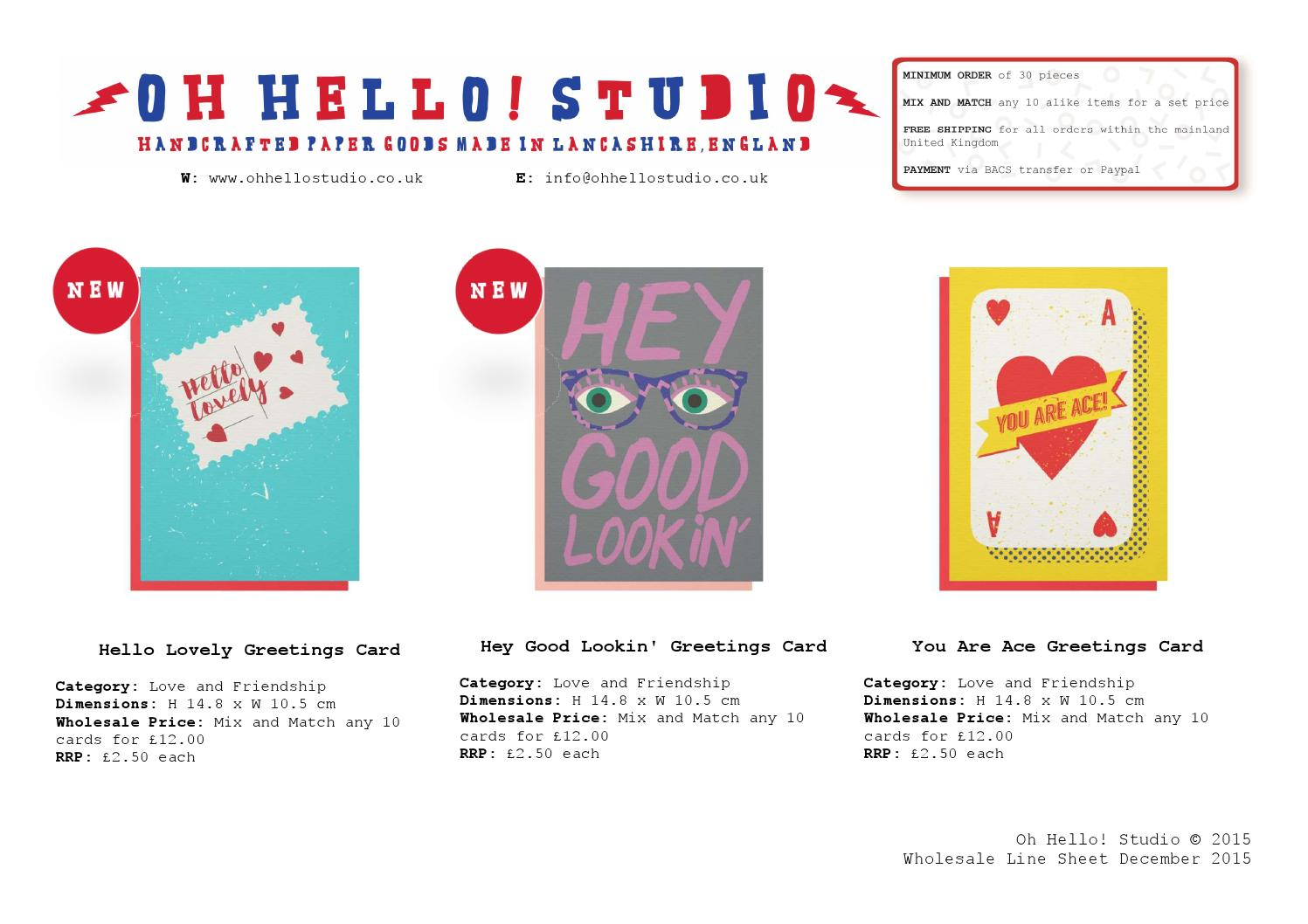 Oh Hello Studio Wholesale Line Sheet Dec 15 By Oh Hello Studio Issuu