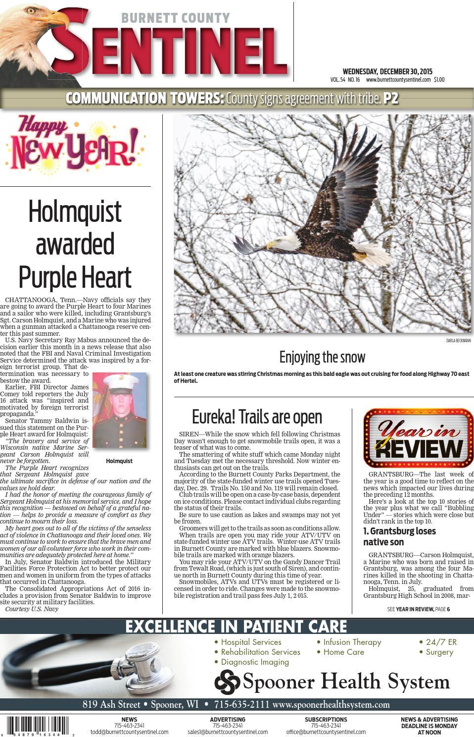 Burnett County Sentinel 12 30 15 By Burnett County Sentinel Issuu
