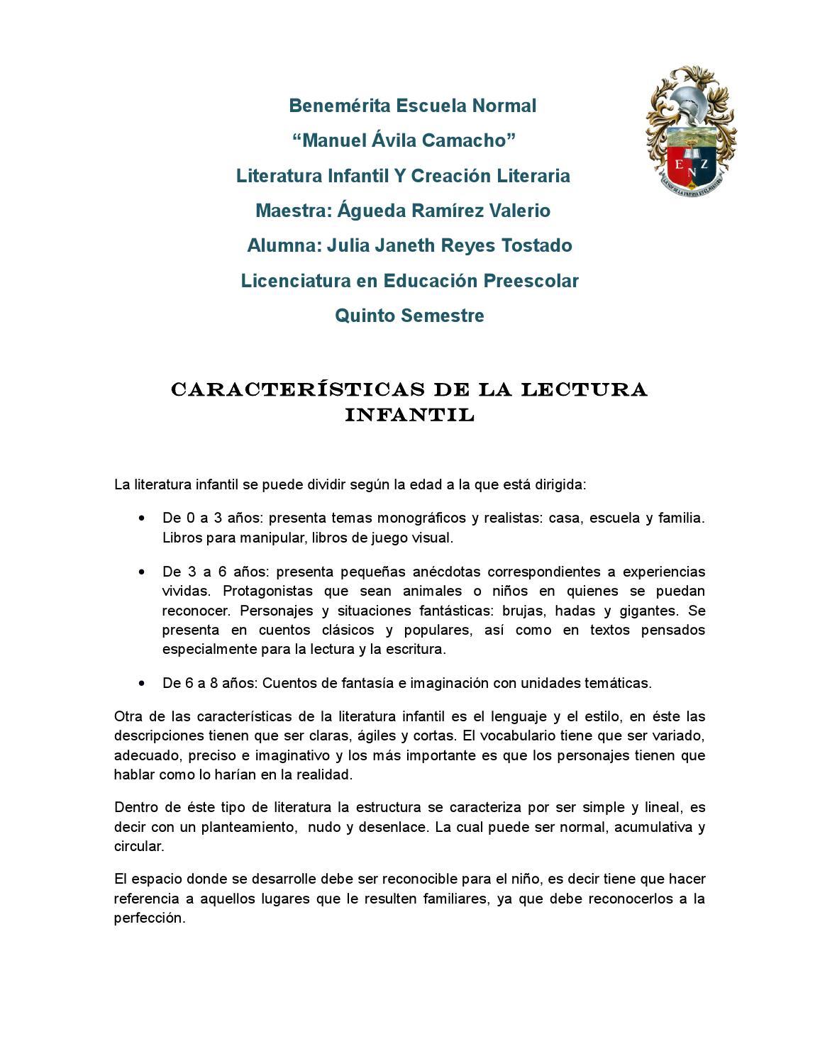 Actividad En Clase Características De La Lectura Infantil By