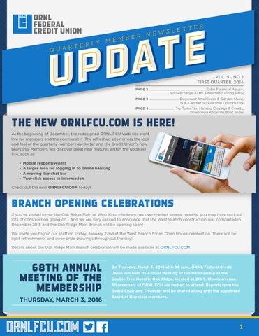 Ornlfcu Update Vol 51 No 1 By Ornl Federal Credit Union Issuu