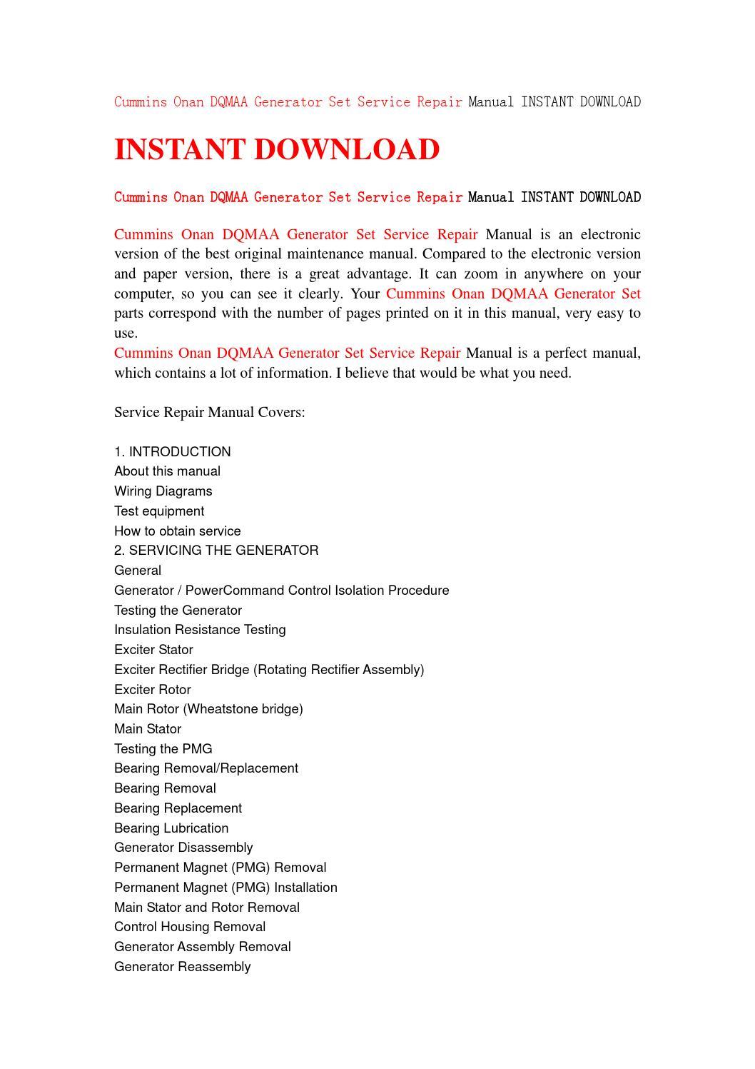 Cummins onan dqmaa generator set service repair manual instant download by  jfhsenf7ye - issuu