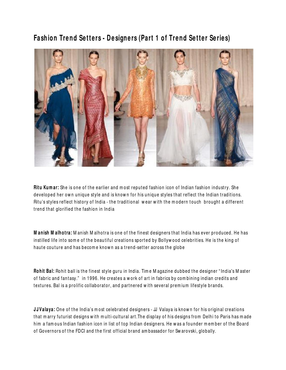 Fashion Trend Setters Designers Part 1 Of Trend Setter Series By Zaffys Issuu