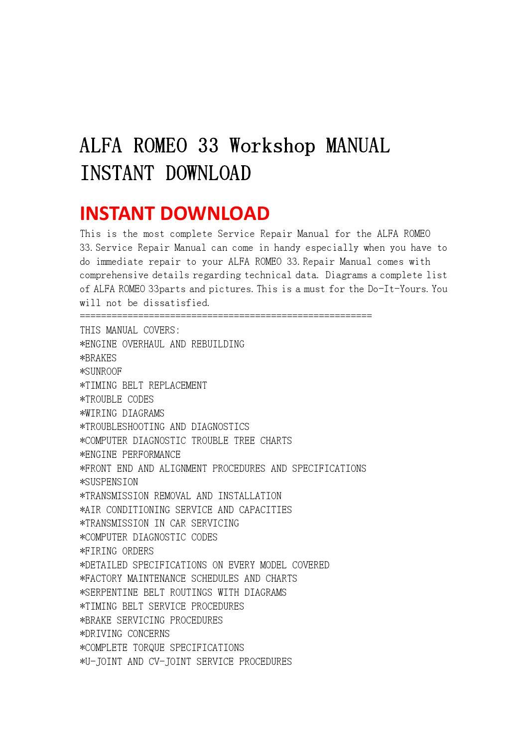 Alfa Romeo 33 Workshop Manual Instant Download By Jfhsenf7ye