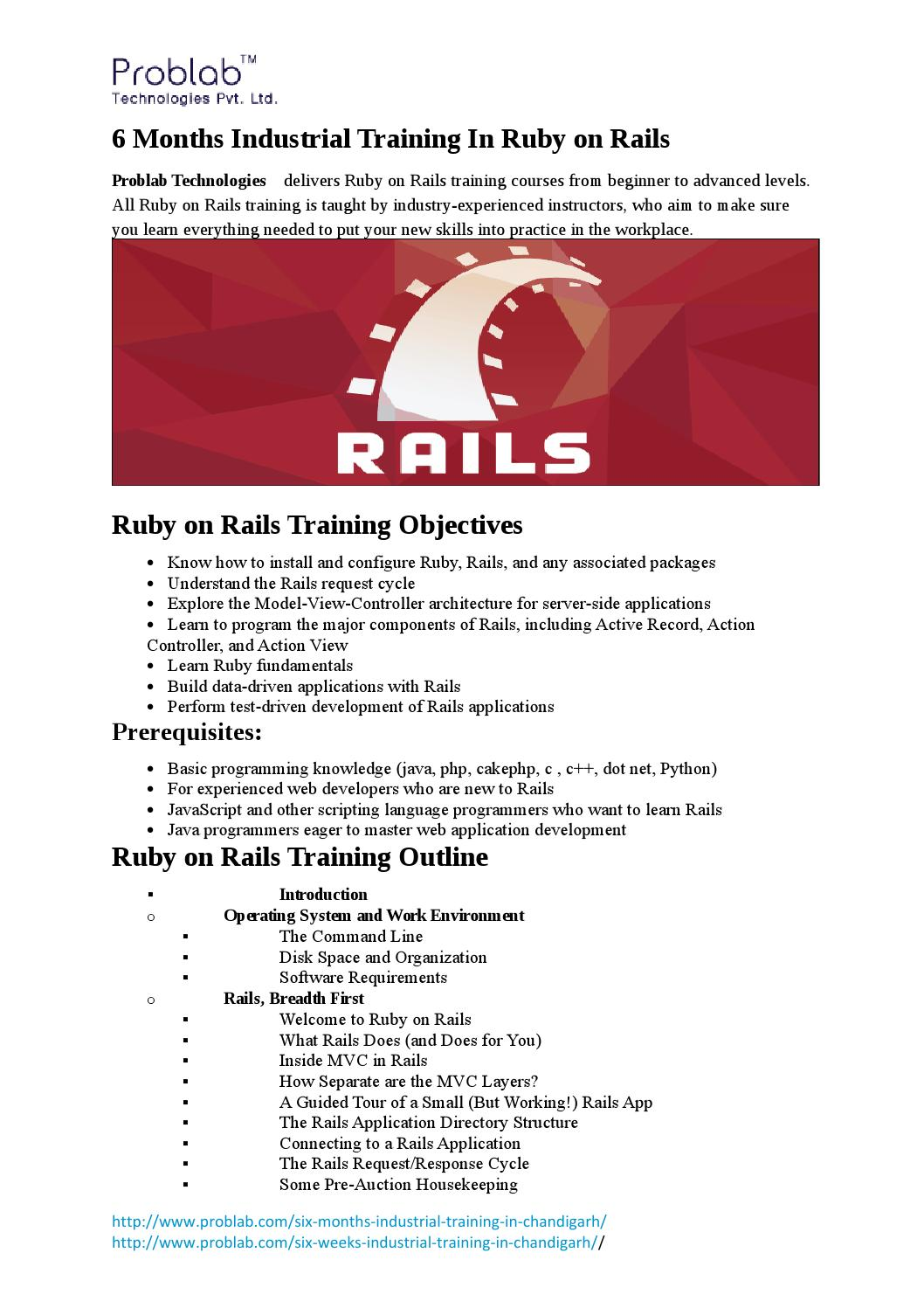 6 months industrial training in ruby on rails by Problab