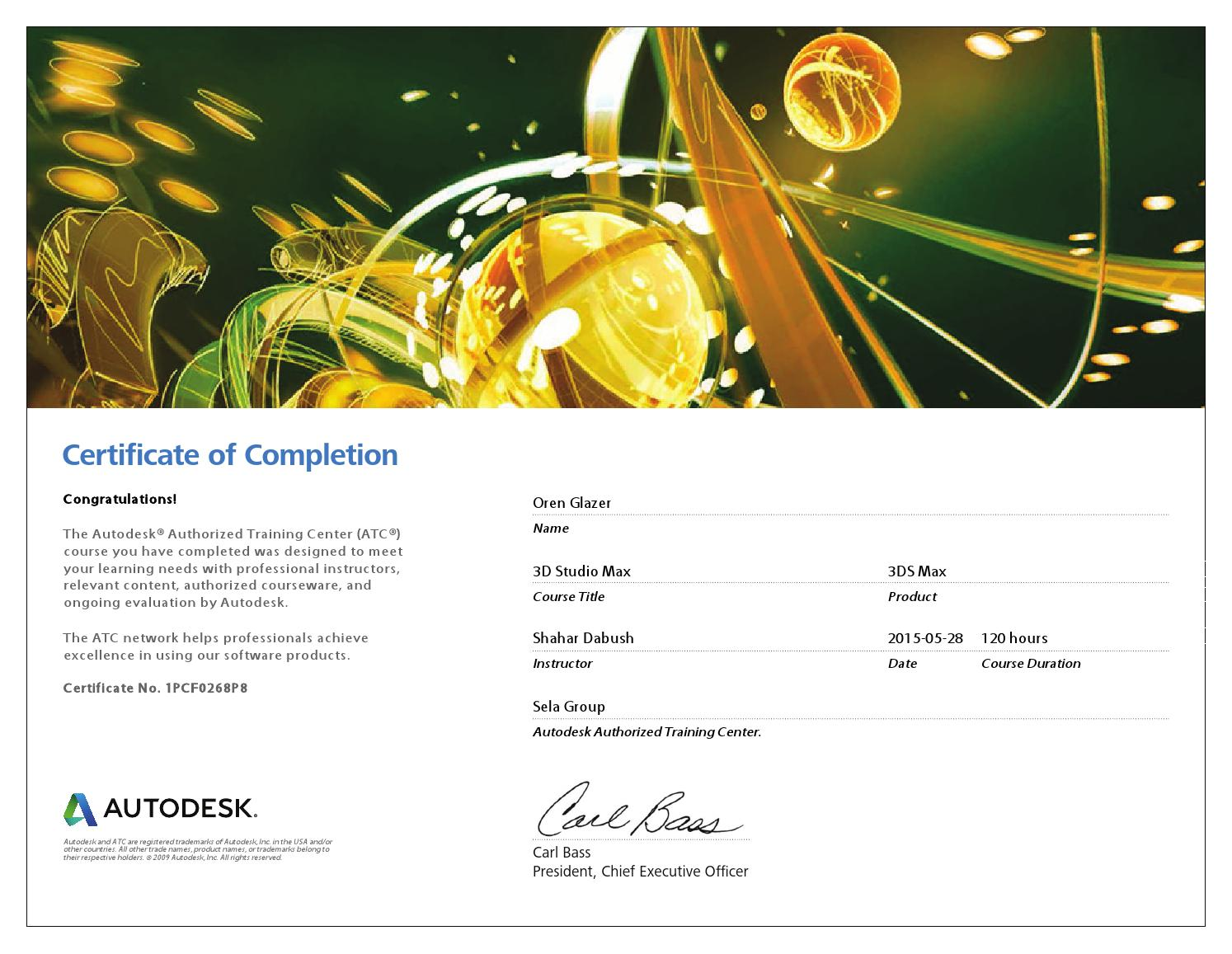 Autodesk training center certificate of completion by oren autodesk training center certificate of completion by oren viking507 glazer issuu 1betcityfo Image collections