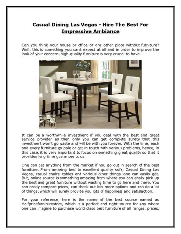Casual Dining Las Vegas Hire The Best For Impressive Ambiance By Half Price Furniture Store Issuu