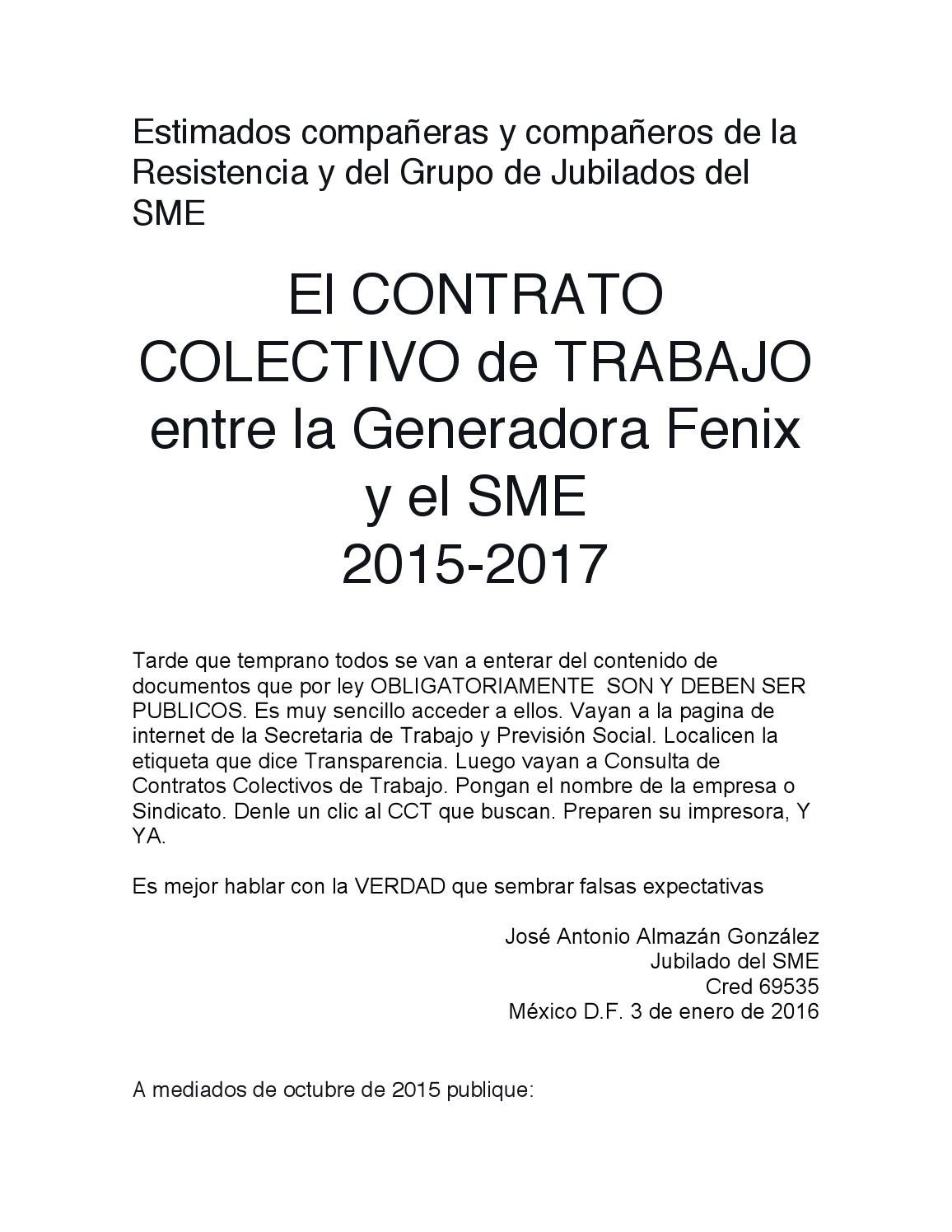El CCT entre Generadora Fenix y el SME 2015 2017 by Jose Antonio ...