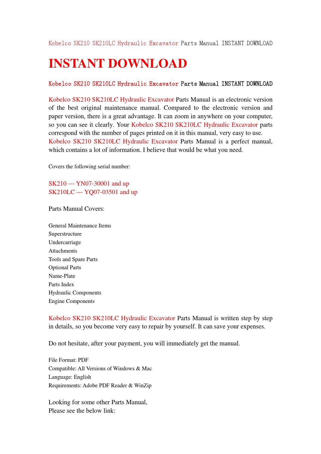Kobelco sk210 sk210lc hydraulic excavator parts manual