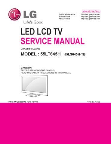 Manual de serviço TV LG 55LT645 e 55LS645H chassis LB2AW