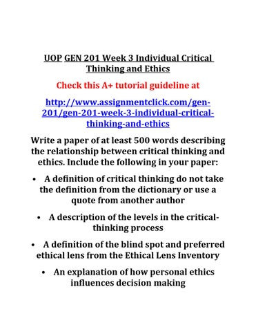 Critical thinking and decision making essay