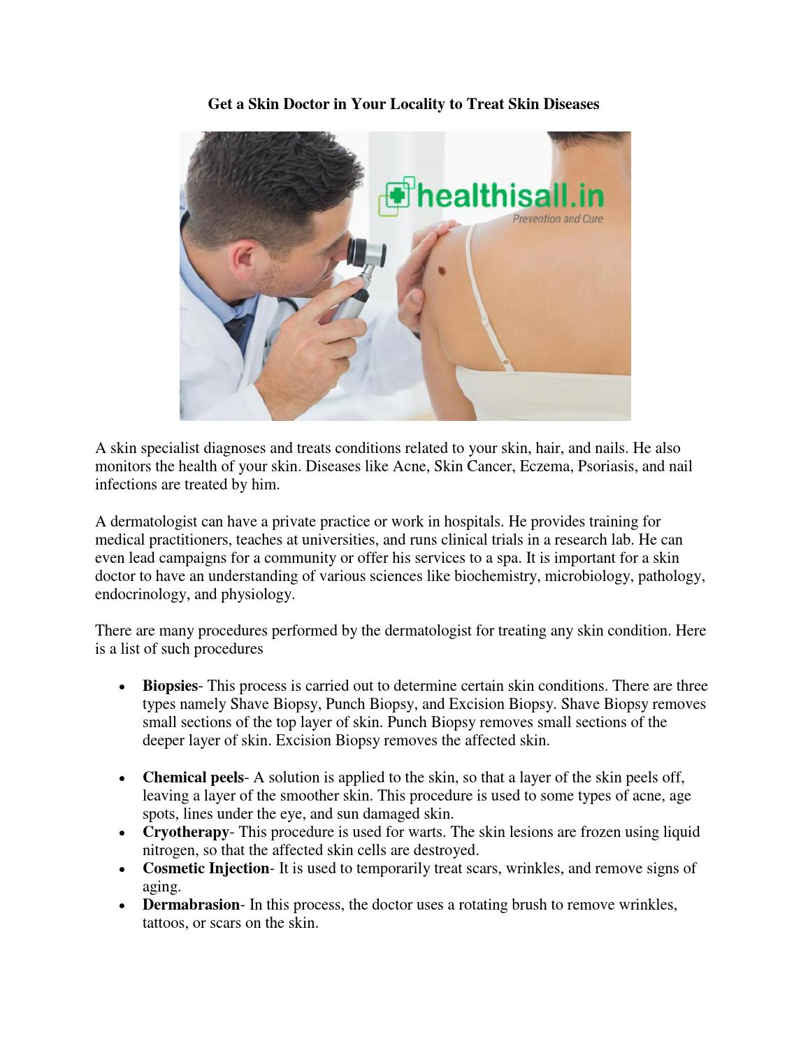 Get a Skin Doctor in Your Locality to Treat Skin Diseases by