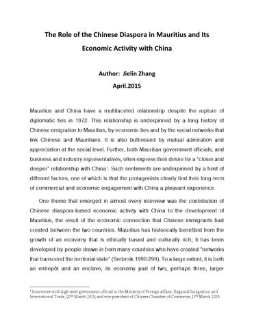 The Role of the Chinese Diaspora in Mauritius and its
