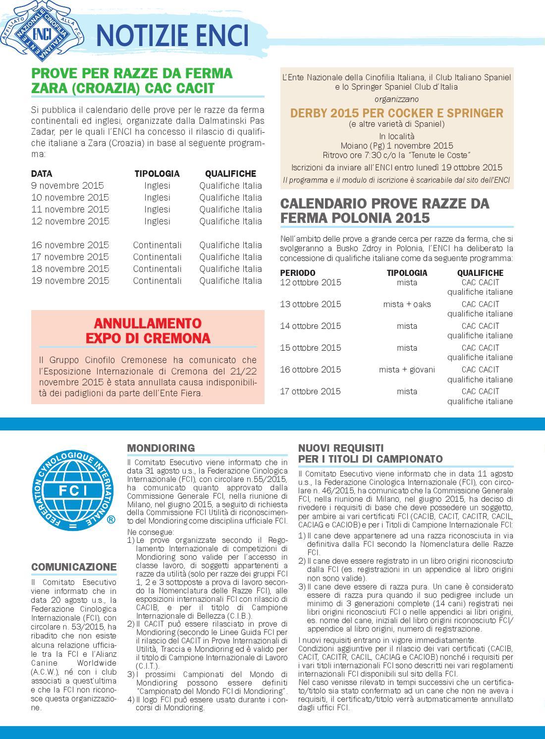 Enci Calendario Prove.I Nostri Cani Ottobre 2015 By Enci Ente Nazionale
