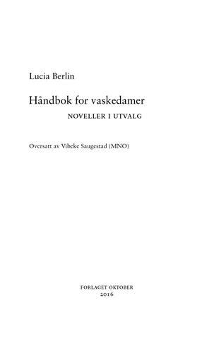 lucia berlin håndbok for vaskedamer