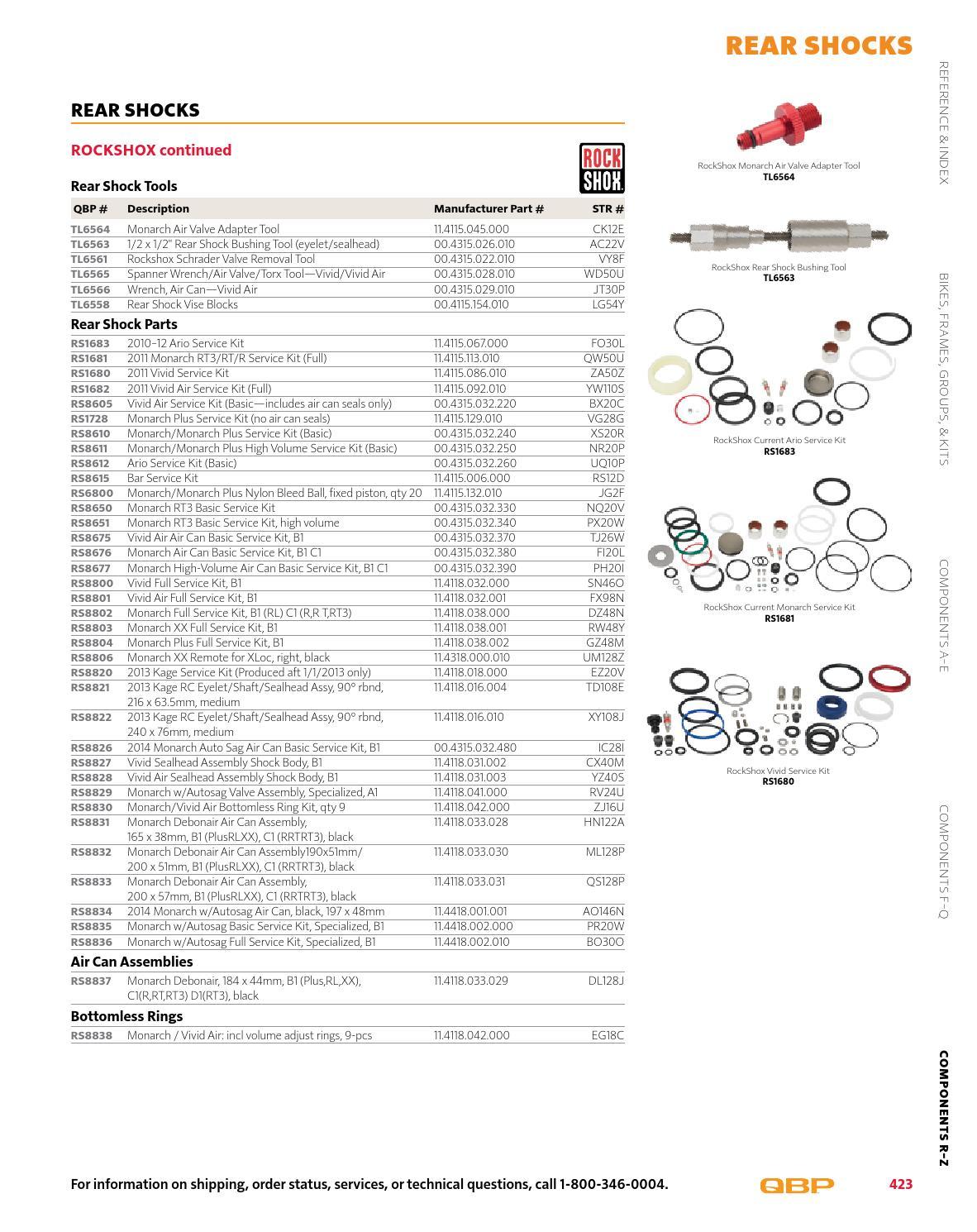 RT3 RRTRT3 D1 RockShox Rear Shock Service Kit Full: Monarch B1 C1 RL