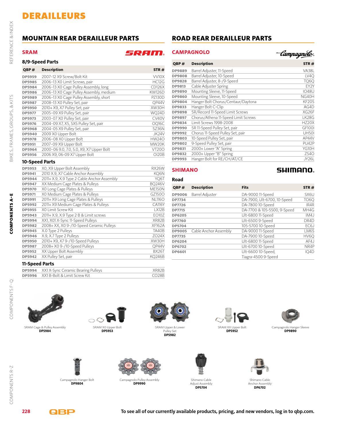 X7//X9 9-Speed Rear Derailleur Hanger Bolt Assembly Parts Kit SRAM 2010