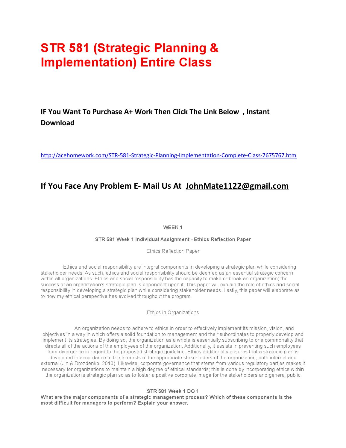 strategic planning implementation str 581 final paper Essay on strategic plan final for str 581 you the strategic planning of crib sheet individual final strategic business plan paper and.