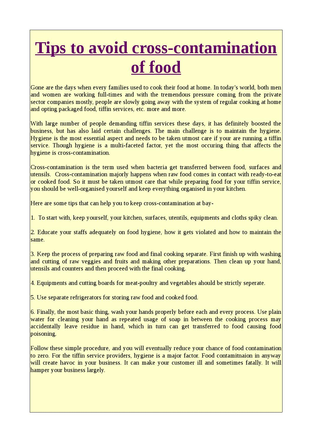 Tips To Avoid Cross Contamination Of Food By Chatakdaar