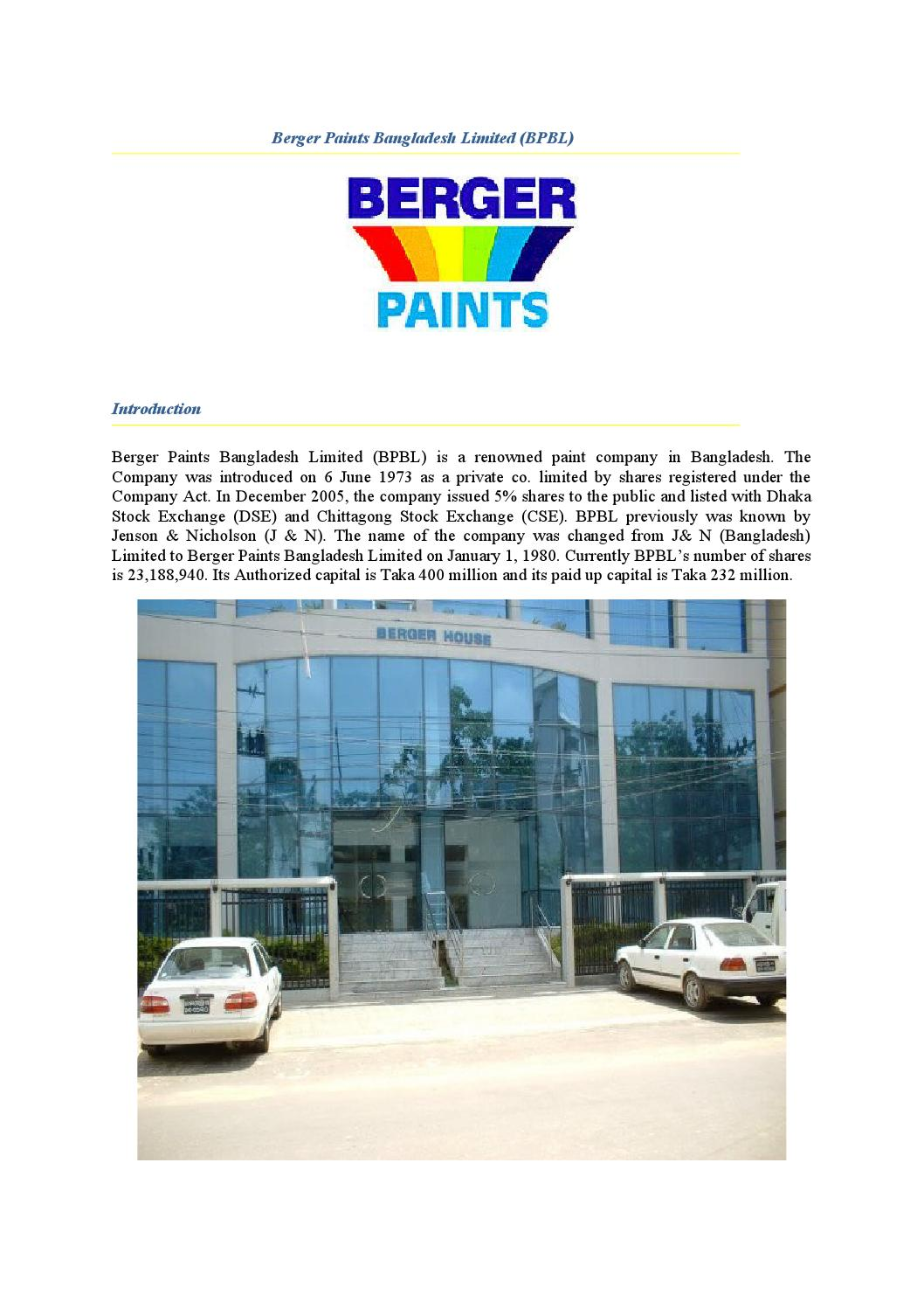 Brief overview on berger paints bangladesh limited by md papon issuu