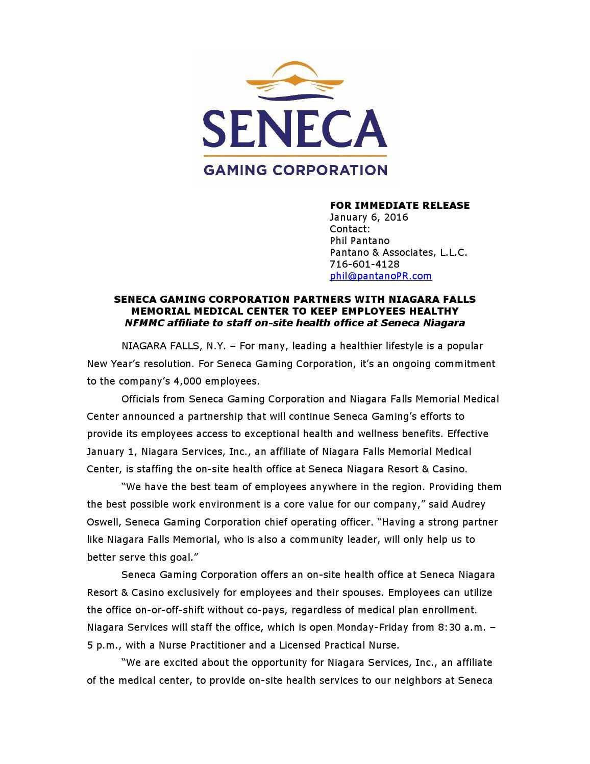 Seneca Gaming Corp. Partners with Niagara Falls Memorial ...