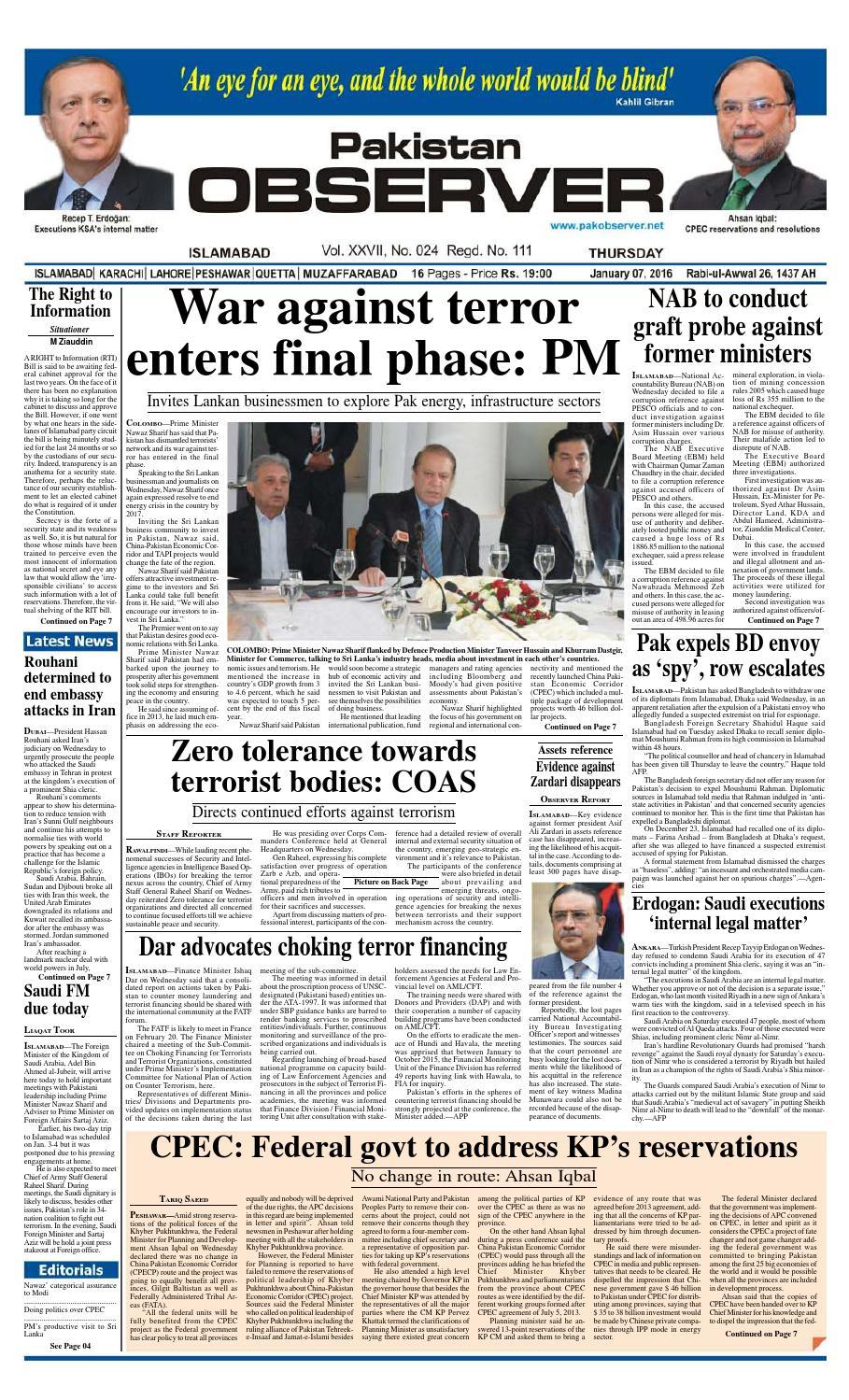 Ep2016jan07 By Pakistan Observer Issuu Kabel Rca 3 Ke Male Kitani Sj0039